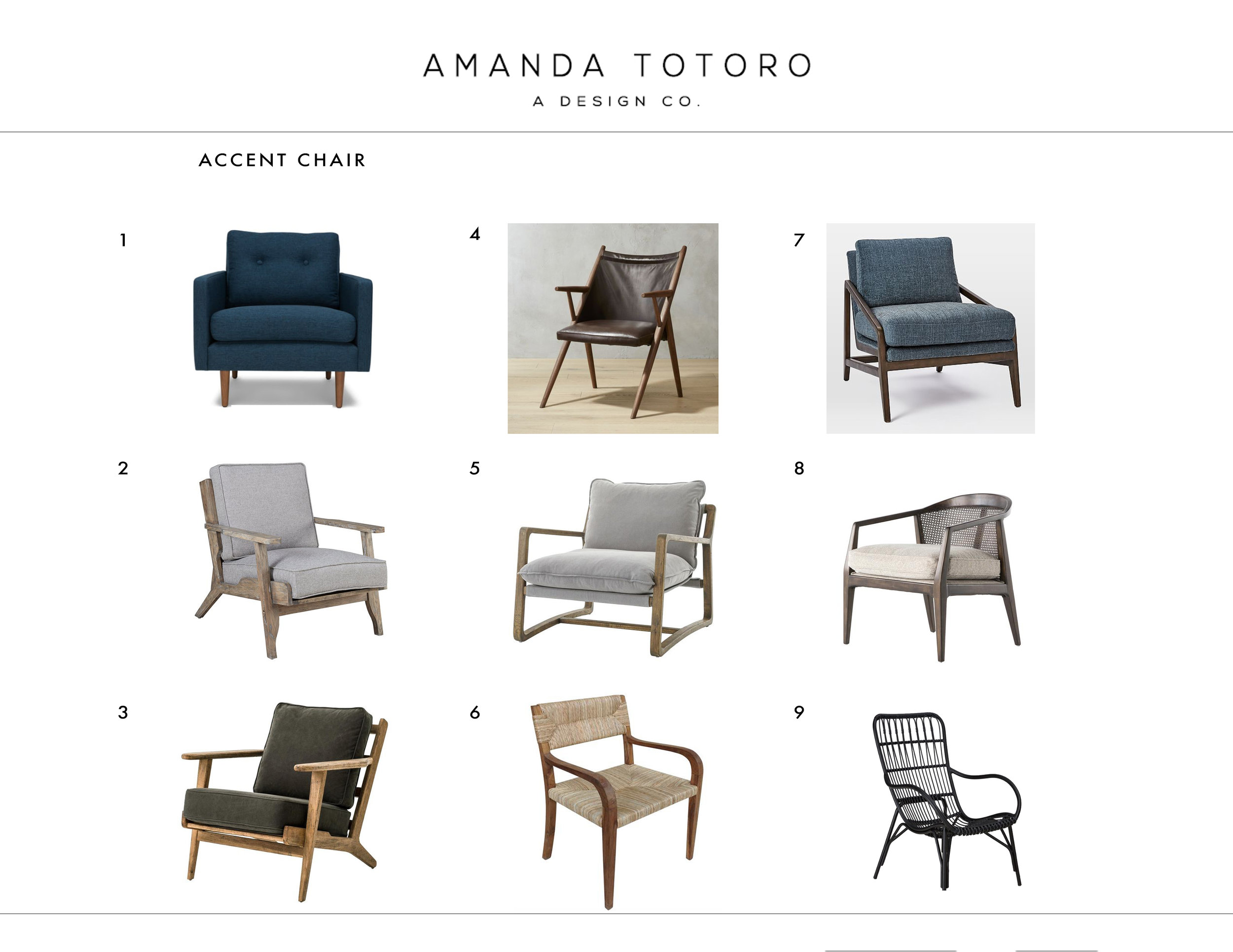 3. selections - I will start sourcing selections that fit our overall design vision. If clients are interested, I will send over multiple selections for them to choose their favorite.