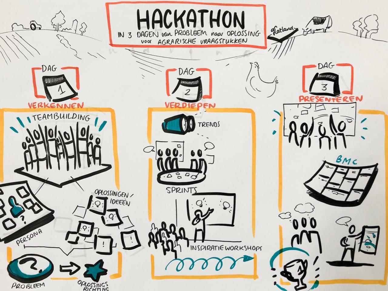 Het verloop van een driedaagse Hackathon schematisch weergegeven. Tekening: Flatland.