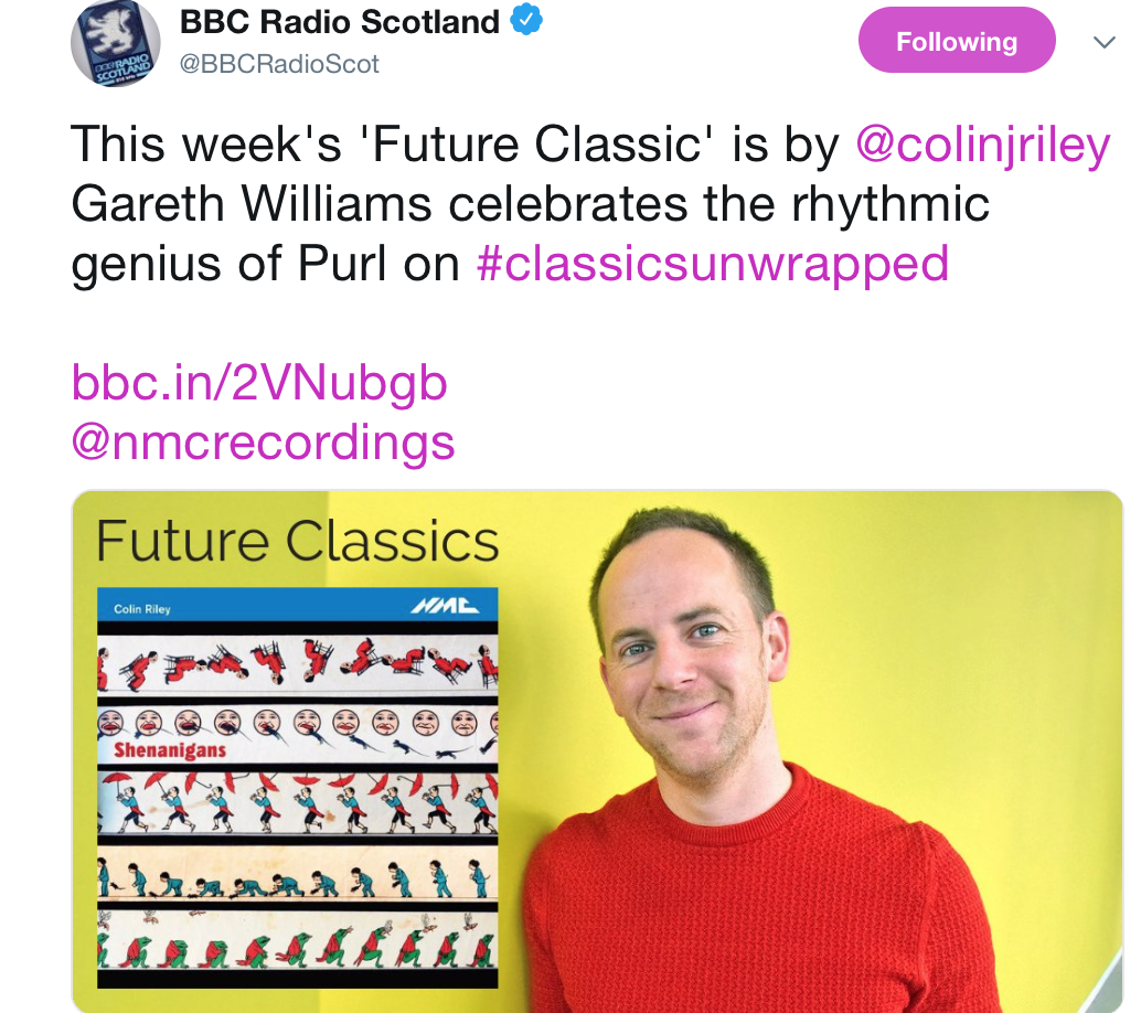 "LISTEN HERE     ""He doffs his cap to the contemporary classical genre but also manages to stand alone in that genre as a unique indie voice.""   (BBC Radio Scotland)"