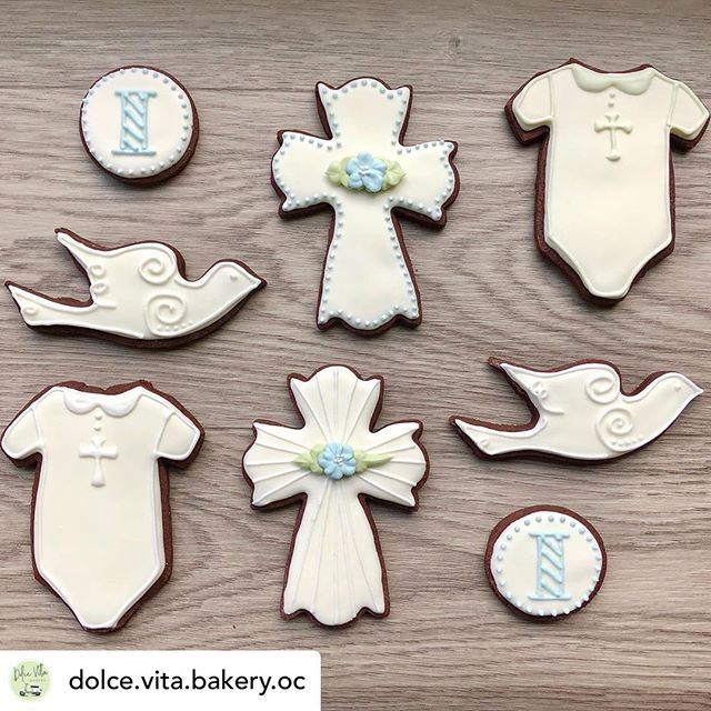 Thank you @dolce.vita.bakery.oc for the beautiful cookies to celebrate Isaac's baptism today!