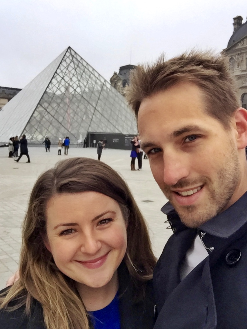 T and J outside Louvre
