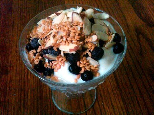 A perfect way to enjoy plain yogurt is with berries, nuts and seeds. My favorite!