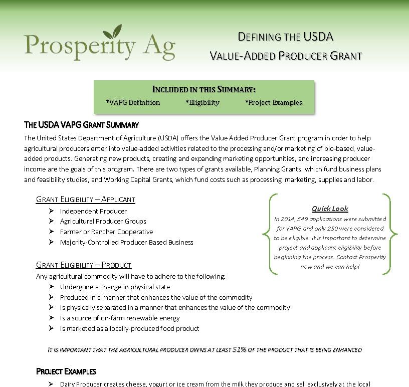 USDA VAPG Program