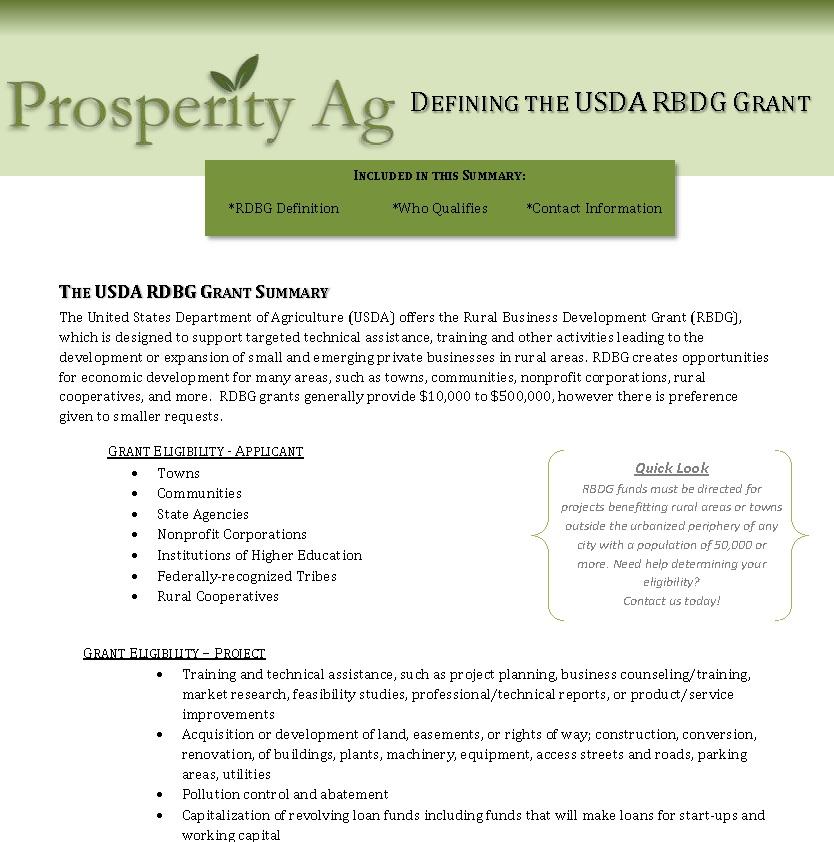 USDA RBDG Program