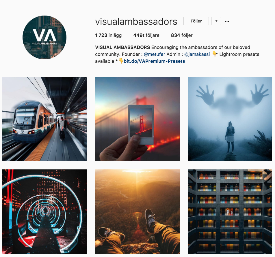 Find feature accounts that you like, then follow the photographers that gets featured to get a very motivational feed!