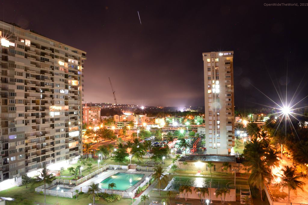 With more of a neighborhood feel than a tourist city vibe, Luquillo is a relaxing home base to return to at the end of a day of sight-seeing or beach going. Shown here: nighttime at The Towers at Playa Azul, Luquillo, Puerto Rico