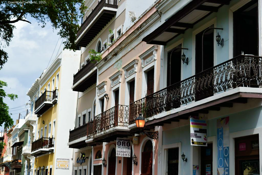 "While their colors give the buildings of Old San Juan their distinctly Caribbean look, their architectural style hints at the European ties of the city's early colonists. Here, elements of Baroque ornamental design are incorporated into the simple, solid construction of New World building projects, a style which has become known as ""Spanish colonial."""