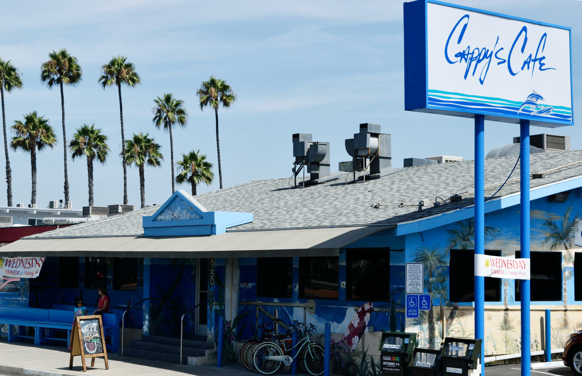 Cappy's sits along PCH, or Pacific Coast Highway, a 655 mile stretch of road extending from its southern terminus in Orange County (population 3,000,000+), to its northern terminus outside the town of Leggett, CA (population 122).