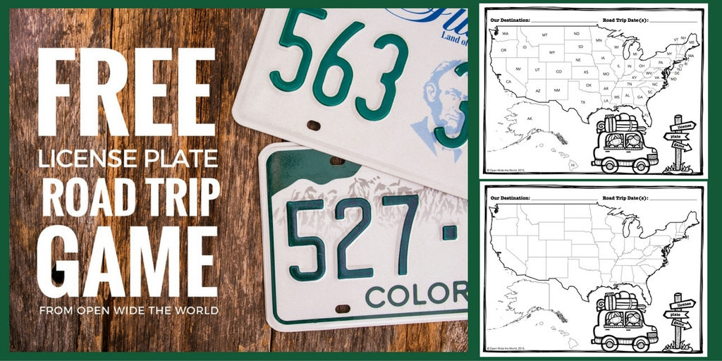 Americans take 1.5 billion leisure trips by car every year. What's a family to do with all that drive-time? The good old-fashioned license plate game! Download our FREE printable version for your next U.S. road trip! #roadtrip #openwidetheworld