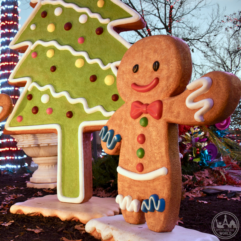 Oversized gingerbread cookies and enormous lollipops are among the many adorable photo opps found at Worlds of Fun WinterFest. -from Open Wide the World
