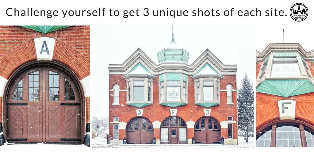Even in adverse weather conditions (like snow and windchills of -5F), we take the time to photograph a site from several angles; often the full view, a close up on an interesting element, and looking up, as seen in this series of the   Aurora Regional Fire Museum   in Aurora, IL.