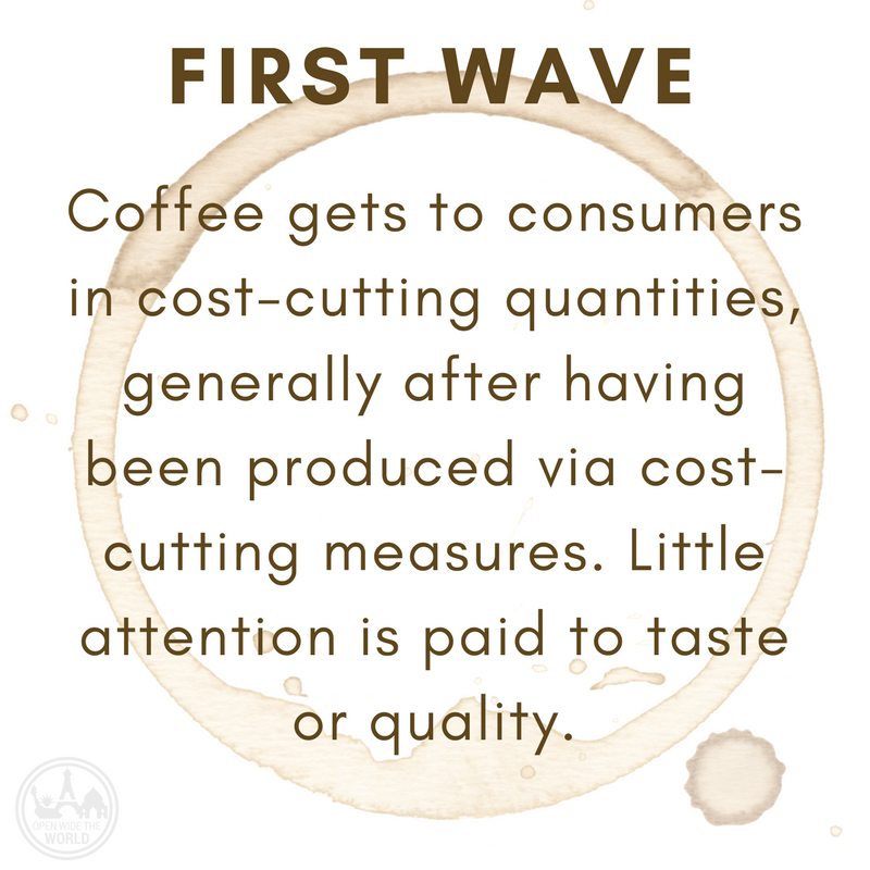 FIRST WAVE  Coffee gets to consumers in cost-cutting quantities, generally after having been produced via cost-cutting measures.