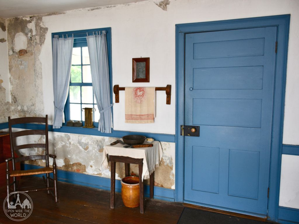 This door is one of five points of egress from a main room in the Levi Coffin House. A similar room in a house of that era would have had one, or two at the most, doors in/out.