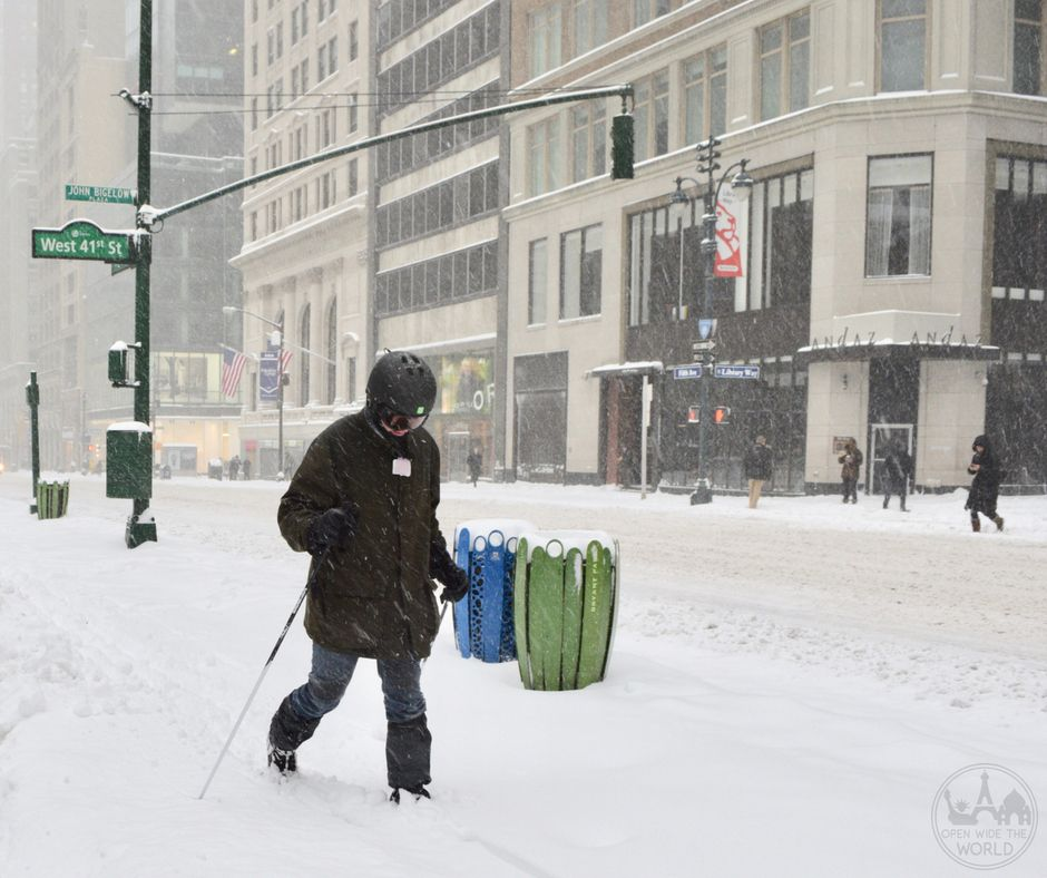 When a winter storm shuts down NYC, you might spot a local cross-country skiing down Fifth Avenue in Midtown Manhattan, like we did, just outside the Andaz Hotel.