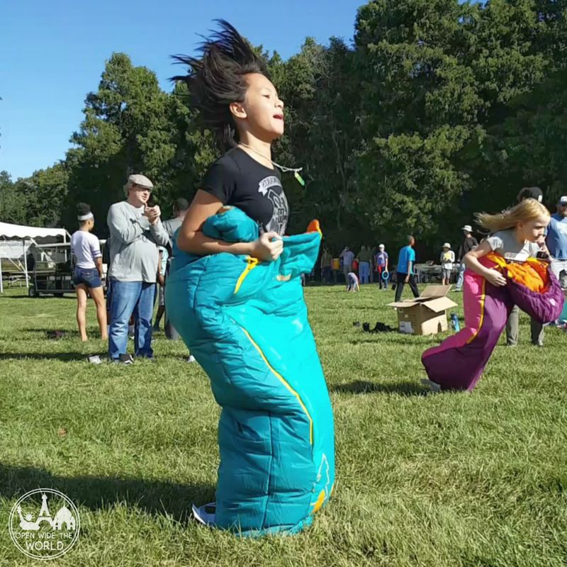 Allerton Park Family Campout sleeping bag race