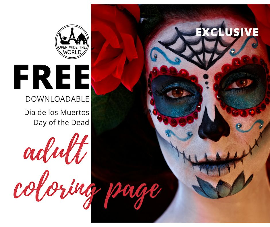 Are you looking for a way to engage with Día de los Muertos? Do you enjoy adult coloring books? Then this is just what you've been waiting for: our FREE printable Día de los Muertos coloring page, featuring a Day of the Dead sugar skull illustration! #diadelosmuertos #freeprintable #coloringpage #openwidetheworld