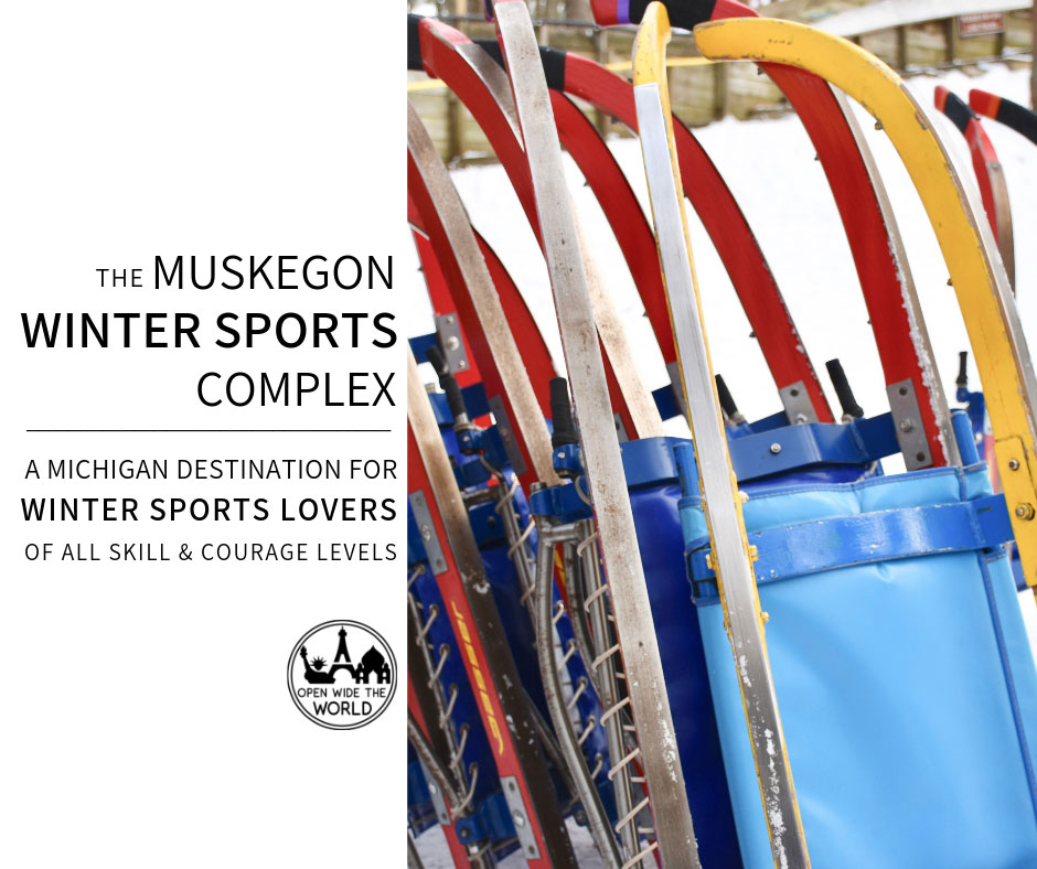 """The Muskegon Winter Sports Complex luge is a popular winter attraction in West Michigan. But the """"Learn to Luge"""" weekend is not the only way to enjoy winter in Muskegon. The Complex also offers ice skating, cross-country skiing, snowshoeing, and sledding. Whether you're a thrill seeker or more relaxed in your winter sports, check out our complete guide to the Muskegon Winter Sports Complex, where there's something for everyone! #luge #openwidetheworld"""