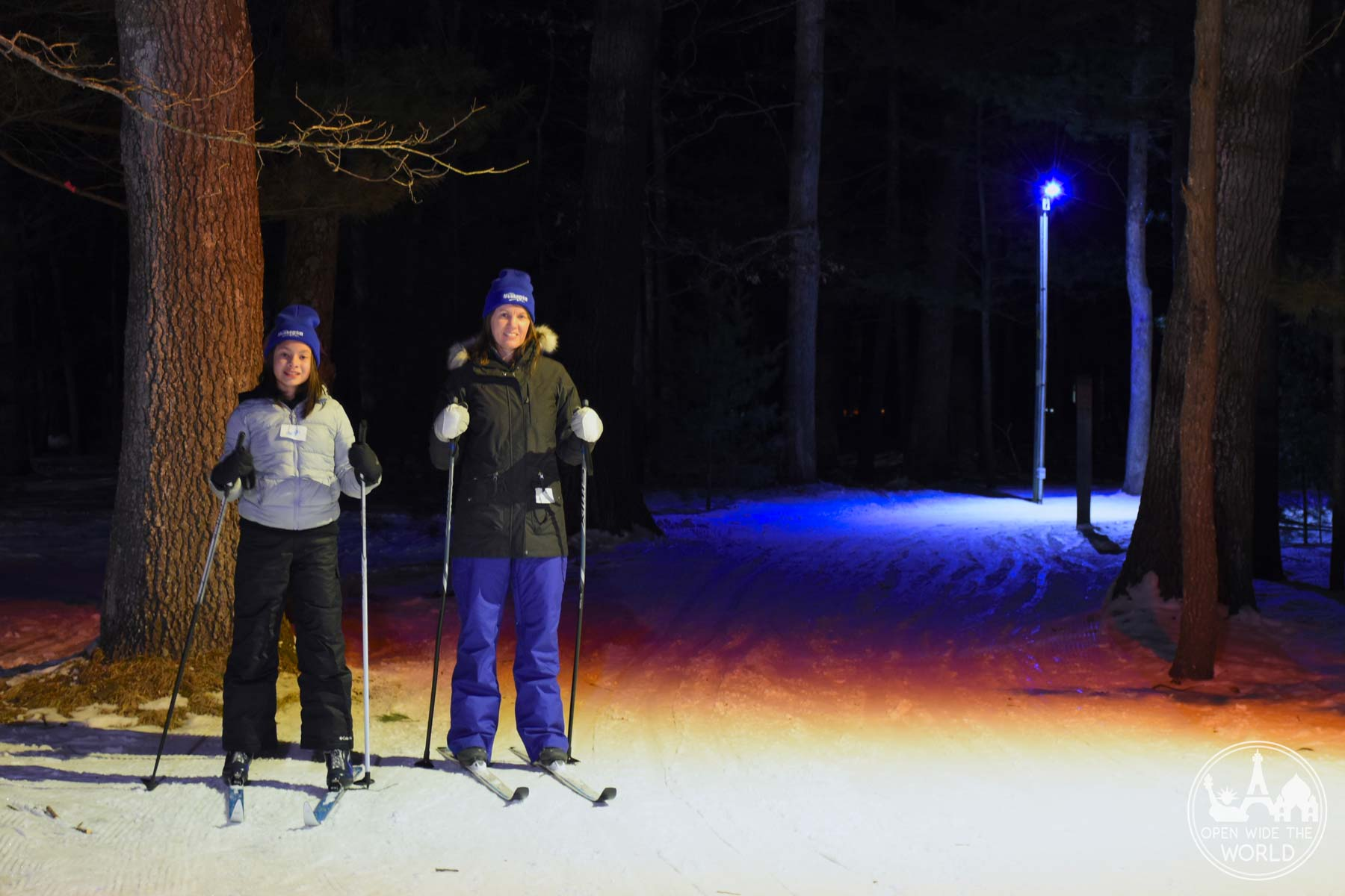 Lighted nighttime cross-country skiing at Muskegon Winter Sports Complex, Michigan. #xcountryskiing #openwidetheworld