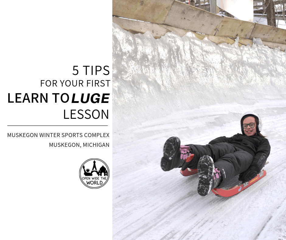 """Have you ever watched the Winter Olympics and wondered: where can I try the luge? Is there a place to luge near me? How hard is the luge? The Muskegon Winter Sports Complex in Muskegon, Michigan hosts """"Learn to Luge"""" weekends every winter, from December through early March. Check out our tips and tricks for your first luge lesson! #luge #openwidetheworld"""