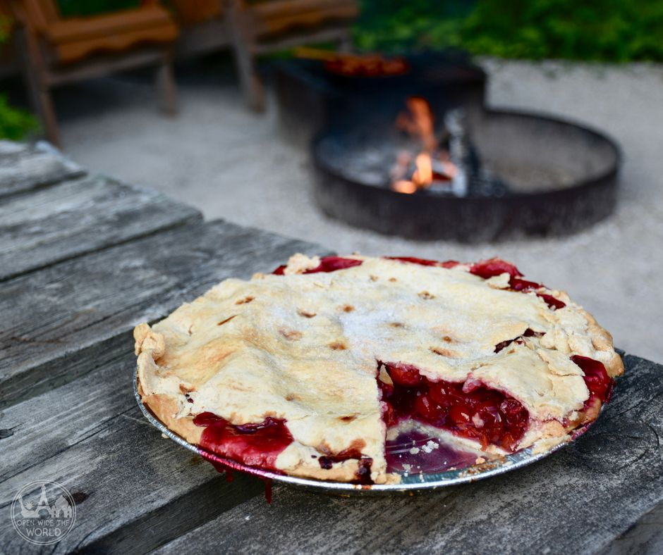 Scharter's, Door Coutny, Wisconsin. We love camping in Door County, Wisconsin. And we love Door County cherry pie. Find out what happened one summer when we took Door County's best cherry pies to our favorite Door County campground! #doorcounty #cherrypie #openwidetheworld