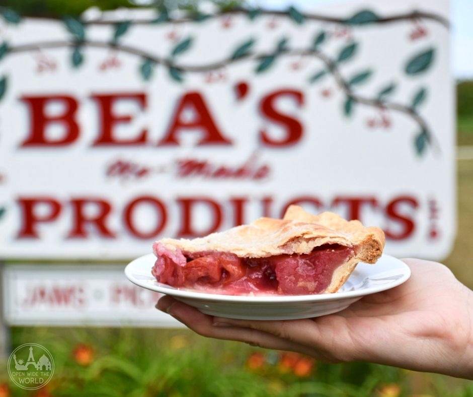 Bea's cherry pie, Door County, Wisconsin. We love camping in Door County, Wisconsin. And we love Door County cherry pie. Find out what happened one summer when we took Door County's best cherry pies to our favorite Door County campground! #doorcounty #cherrypie #openwidetheworld