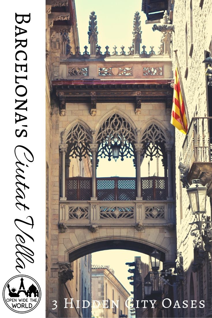 Barcelona's Ciutat Vella. So much beauty and history in one charming city. But Medieval over-construction means narrow streets with few trees and even fewer benches. Throw in millions of tourists and thousands of selfie sticks, and finding a moment of peace becomes top priority. #barcelona #openwidetheworld