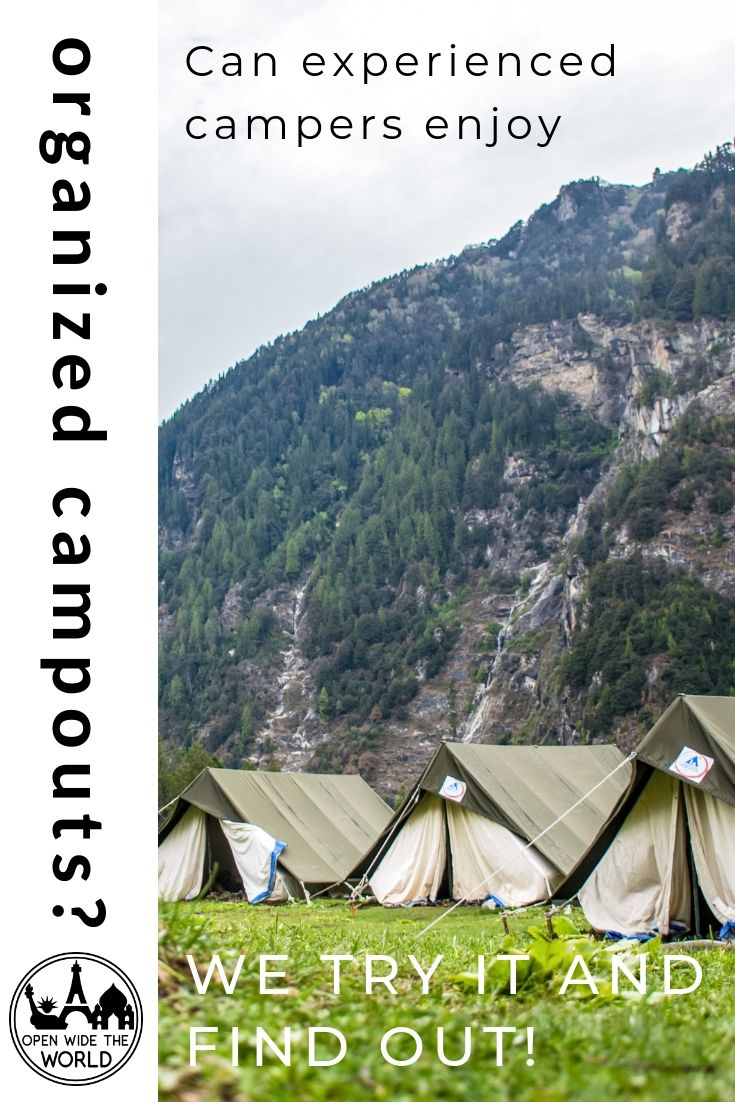Can experienced, lifelong camping families enjoy a structured, organized, family campout event? We set out on a 24-hour organized, community camping experience to find out! #camping #campingwithkids #openwidetheworld