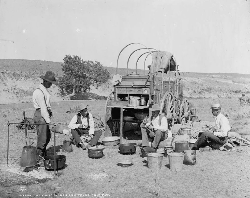 A chuckwagon on a Texas round-up. U.S. Library of Congress, photographer unable to be found at this time.