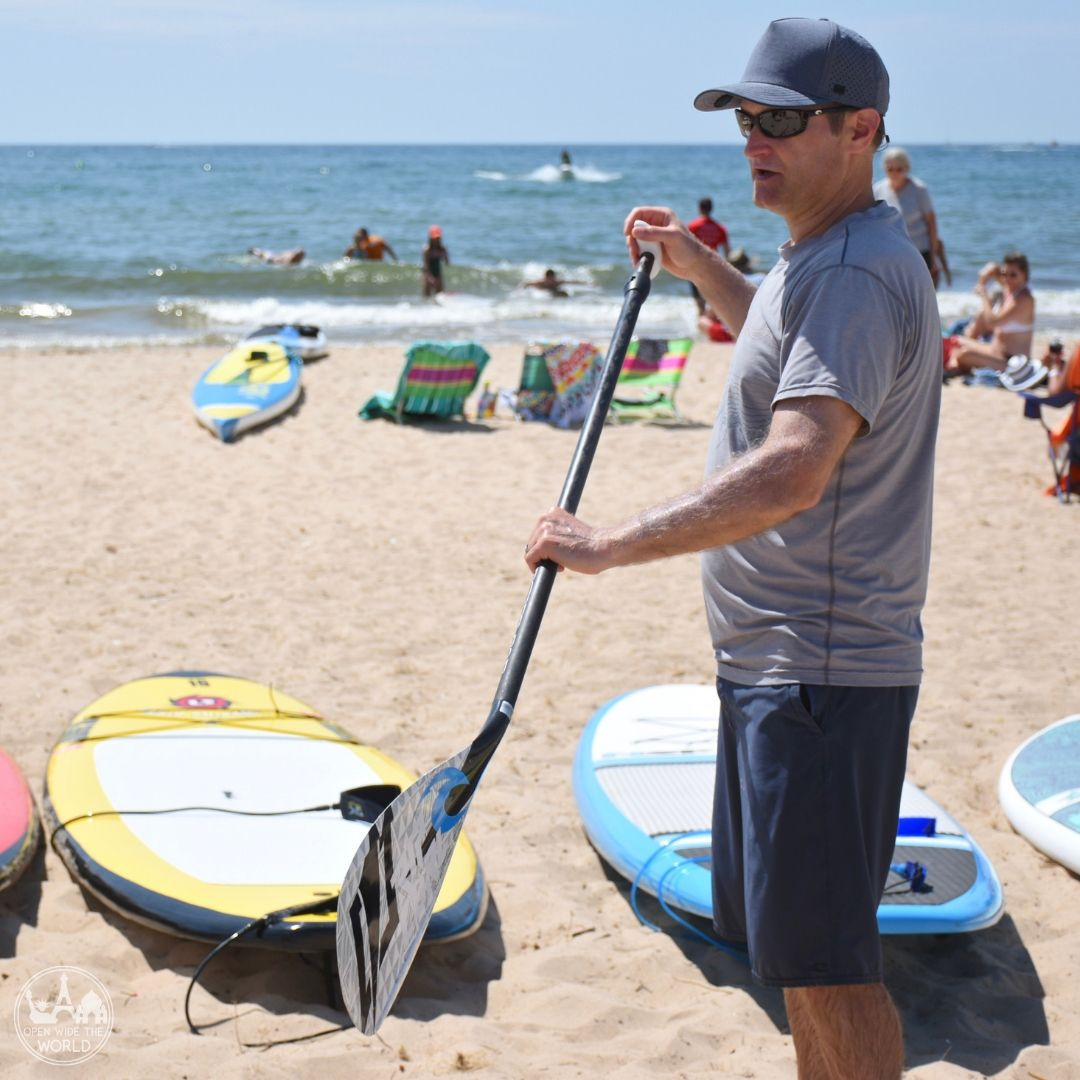 Instructor Marlow getting us ready for our first time on SUPs. Great Lakes Surf Festival, Muskegon, Michigan.