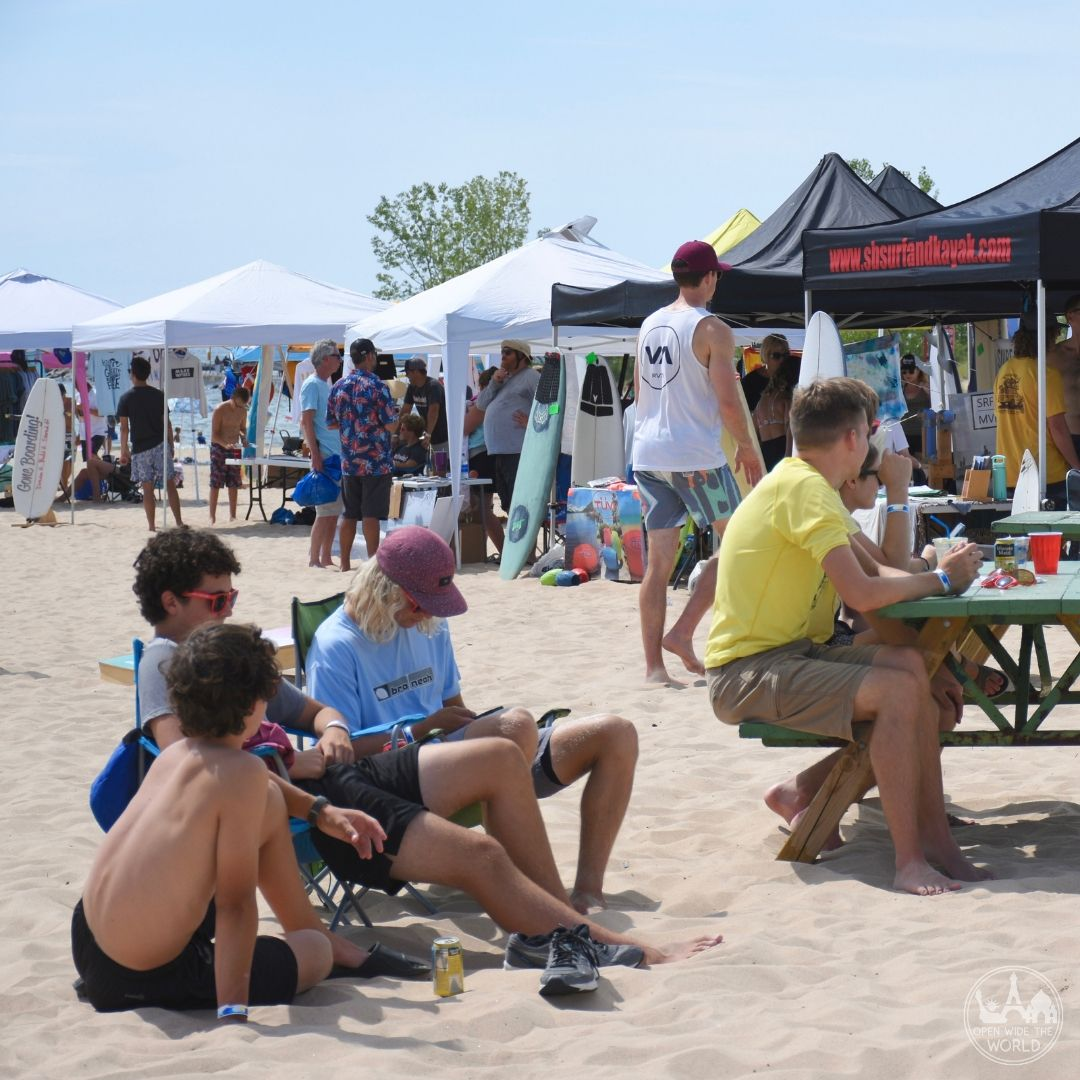 "The Great Lakes Surf Festival answers the question ""Can you surf on the Great Lakes?"" Spend a day at this annual watersport gathering on Lake Michigan, near Muskegon, Michigan, and fall in love with surfing, SUP and more on the Third Coast! #surfing #openwidetheworld"