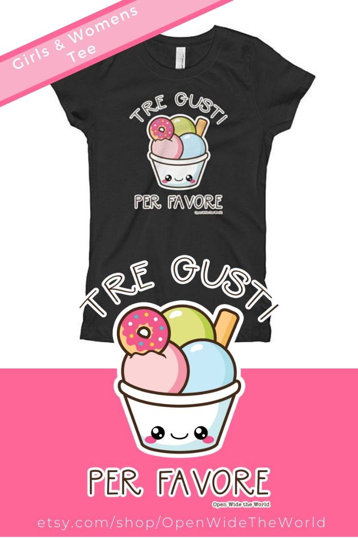 Cute kawaii  gelato tee  for your trip to Italy!