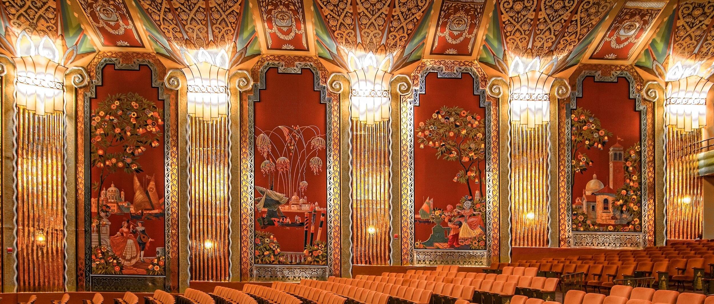 Paramount Theatre, Aurora, IL. Showcasing Venetian walll murals and Art Deco pillars, in addition to a fabulous Broadway Series!