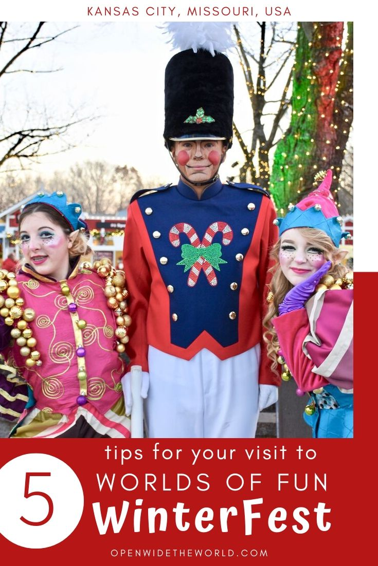 Worlds of Fun Kansas City transforms into WinterFest each Christmas season. We're sharing our 5 favorite WinterFest activities plus 5 tips from our visit! #winterfest #openwidetheworld