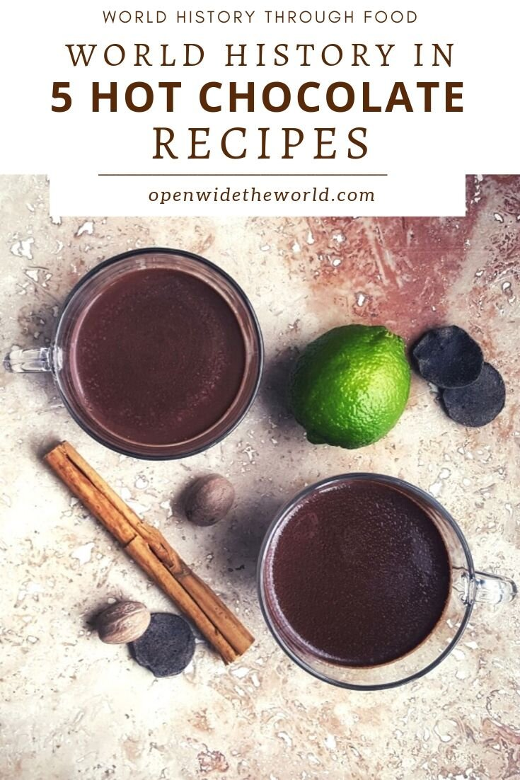 Learn the history and the evolution of hot chocolate… and try five historic world recipes along the way! #hotchocolate #openwidetheworld