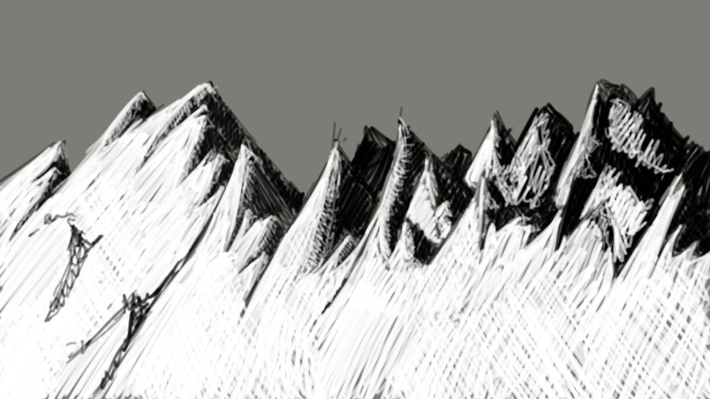 A timed sketch challenge, to draw a landscape using black and white/grayscale within 15 minutes.