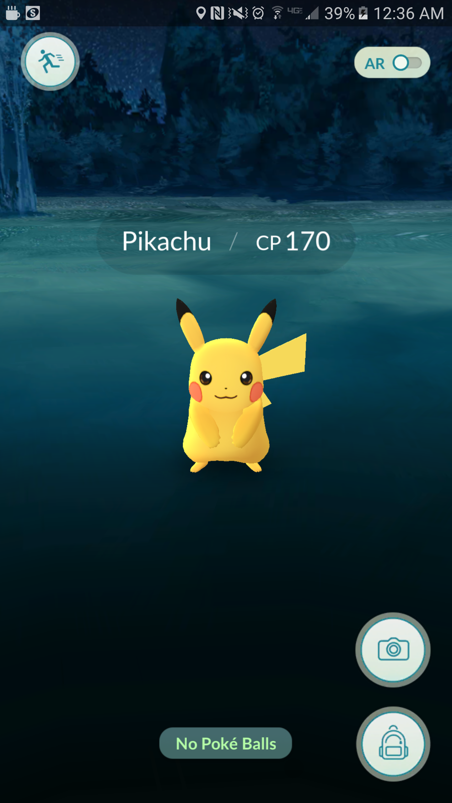"Pokemon Go screenshot; Pikachu in capture screen, message at bottom says ""No Poke Balls"""