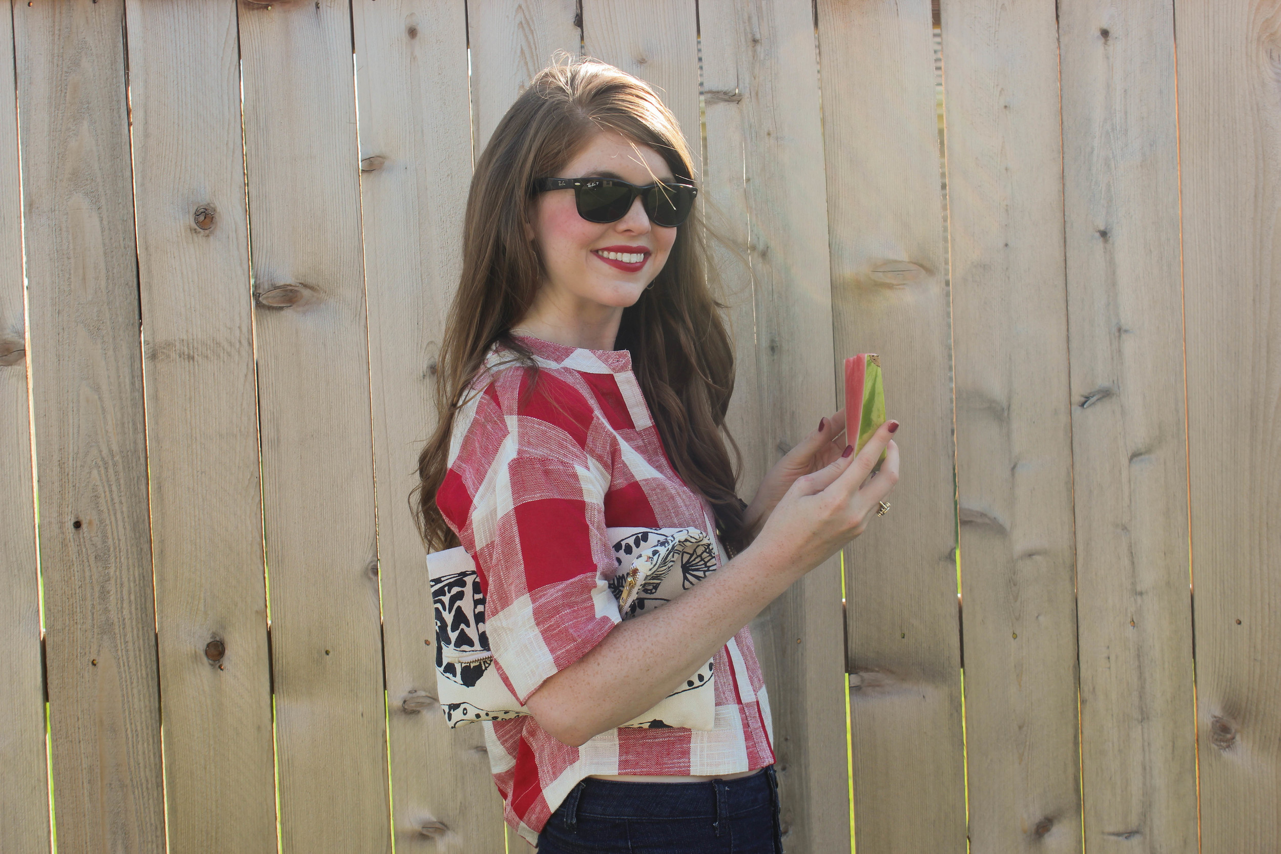 red gingham and denim shorts | Southern Elle Style | Dallas Fashion Blogger
