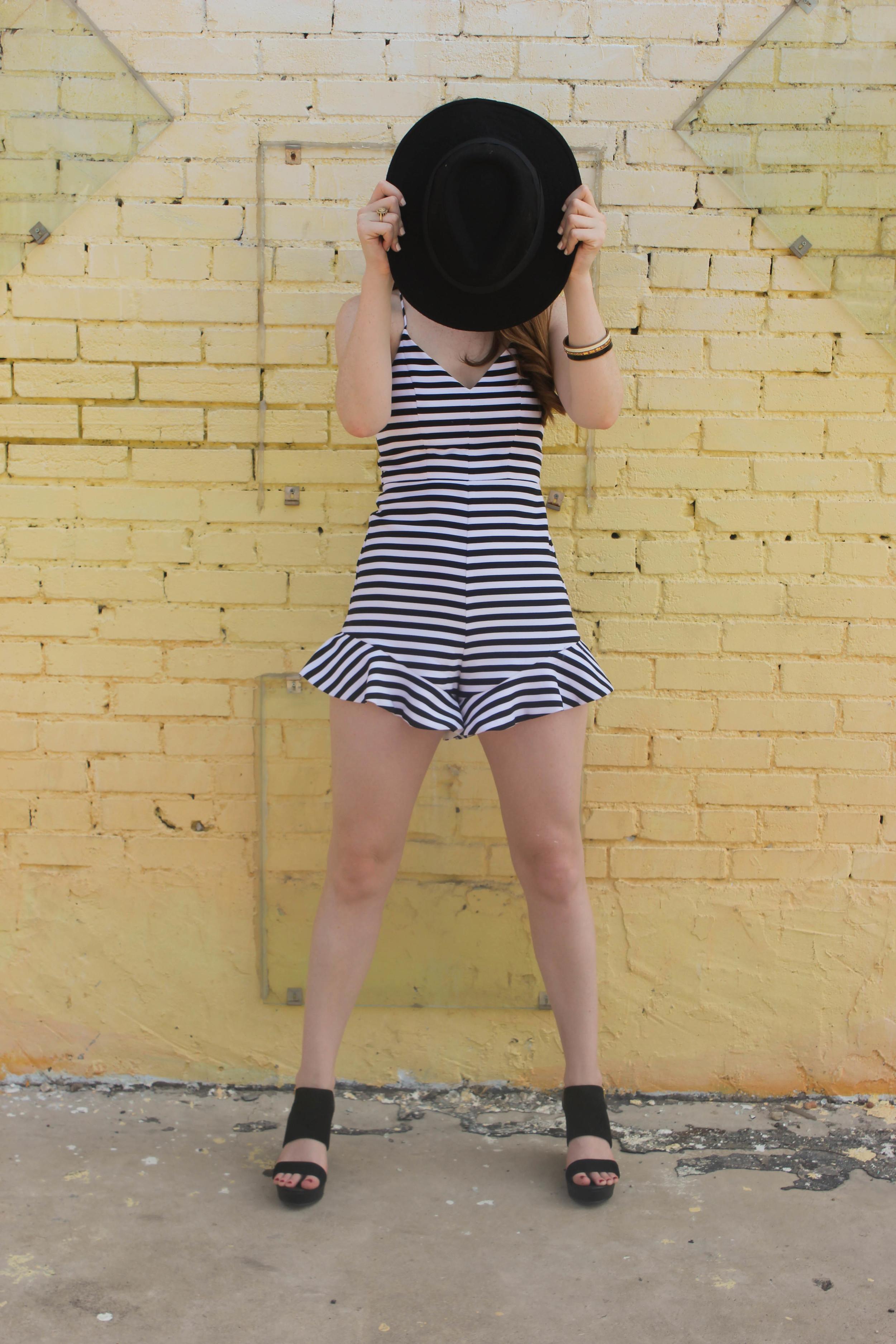 Black and White Romper, Felt Hat | Southern Elle Style | Dallas Fashion Blogger