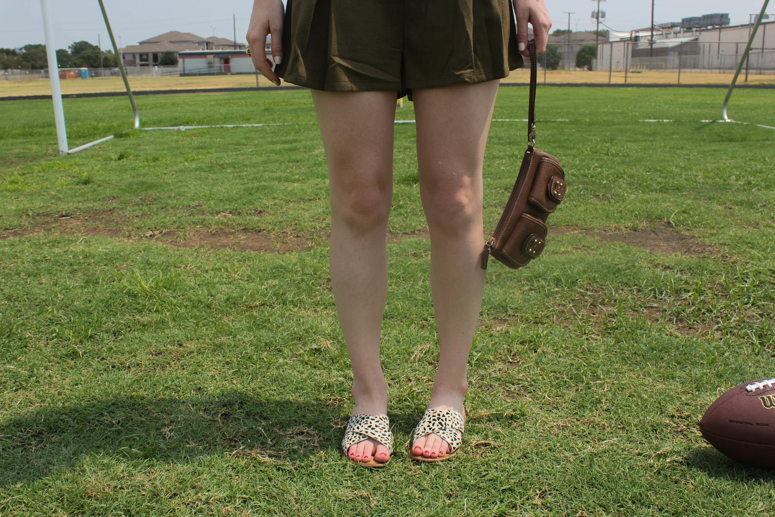 Olive Romper, Football | Southern Elle Style | Dallas Fashion Blogger