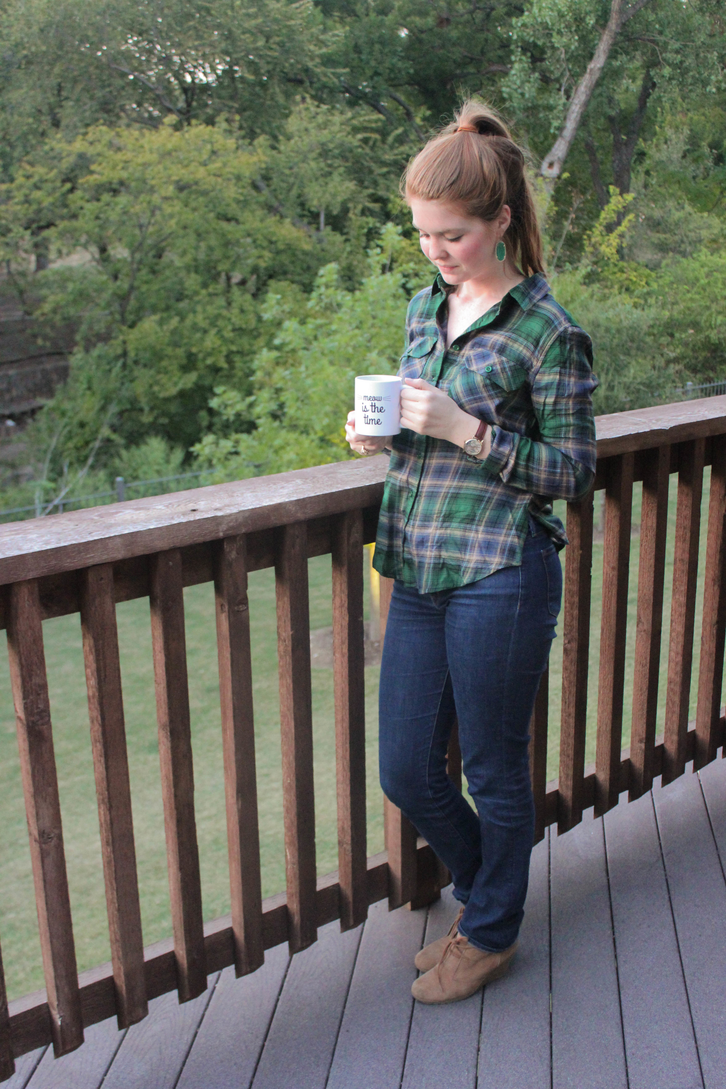 green plaid flannel, suede booties, fall