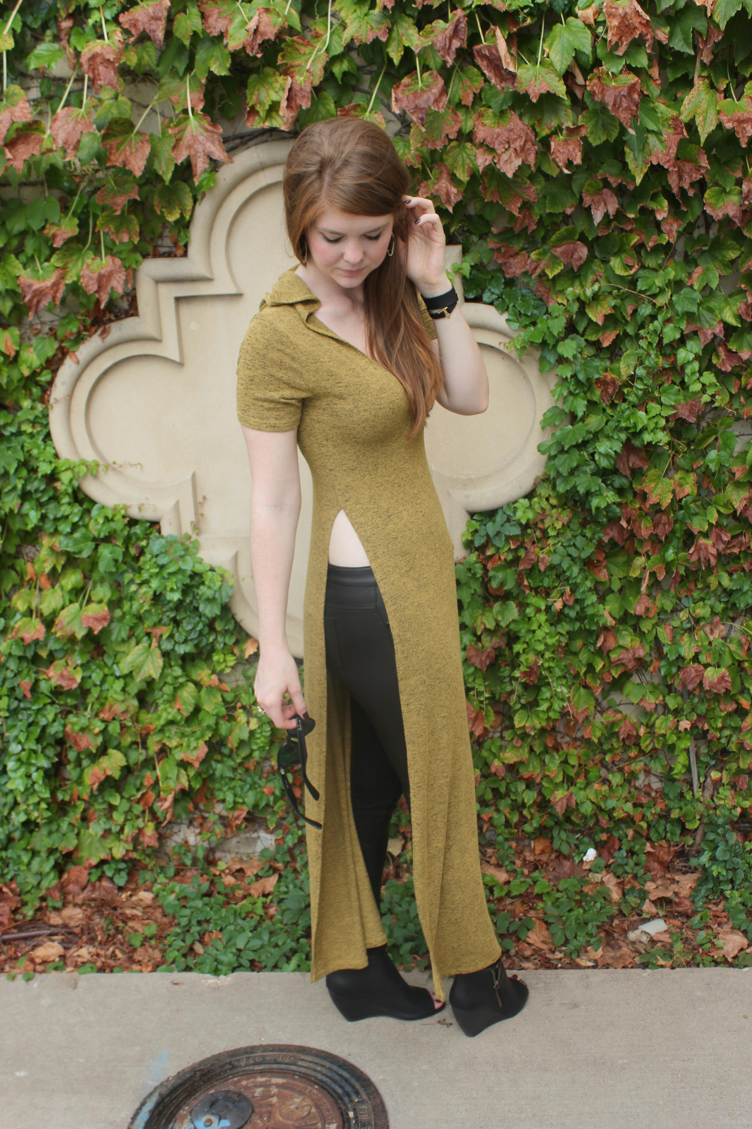 high-slit maxi dress tunic, BC Footwear Wedges