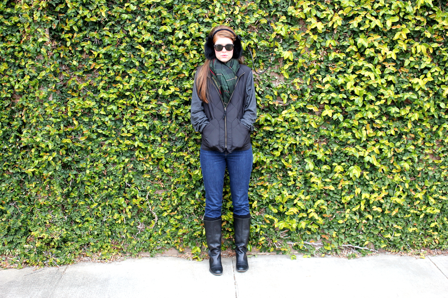Blanket Scarf, Quilted Vest, Riding Boots