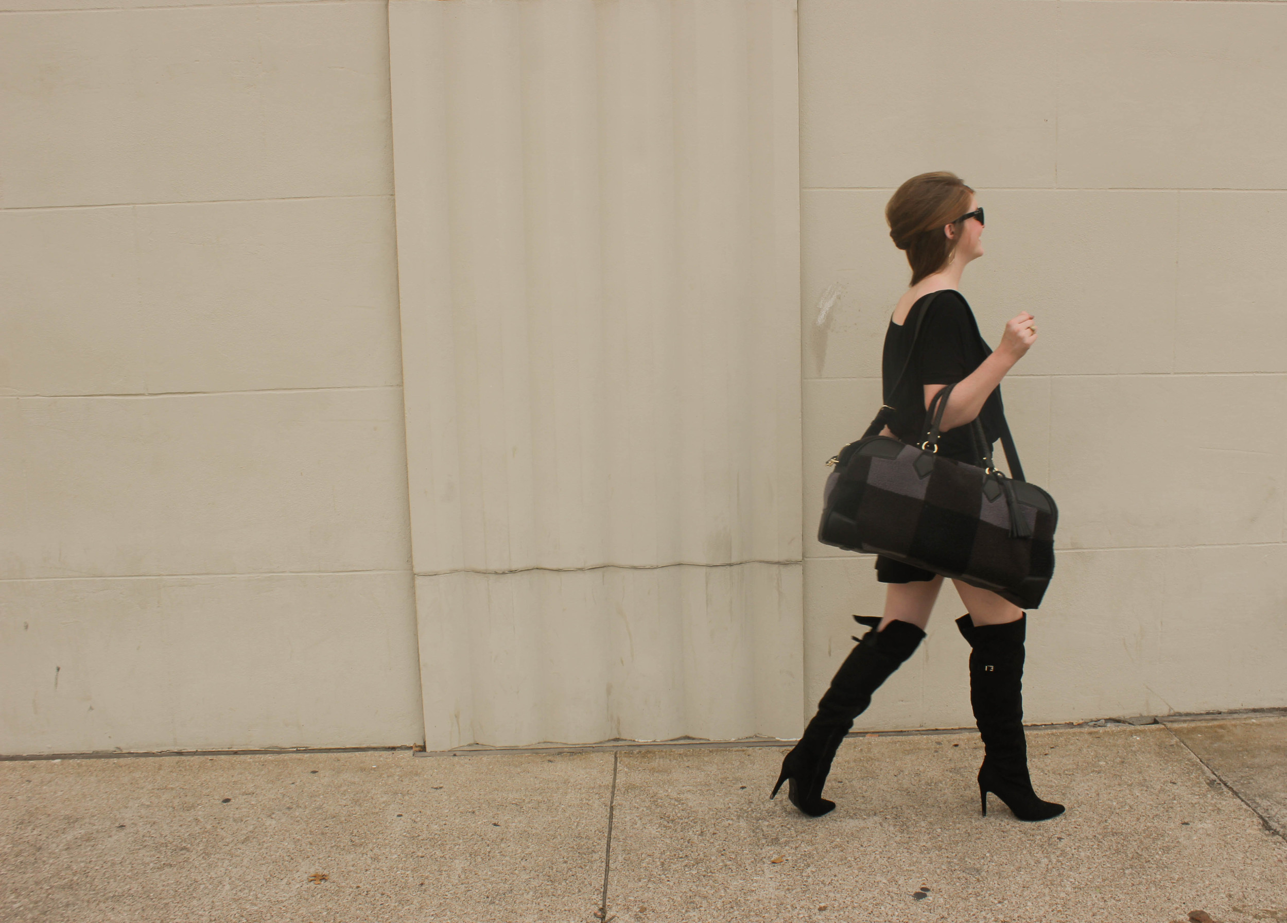 Chinese Laundry Suede Over the knee boots, button mini skirt, adam lippes for target weekender bag