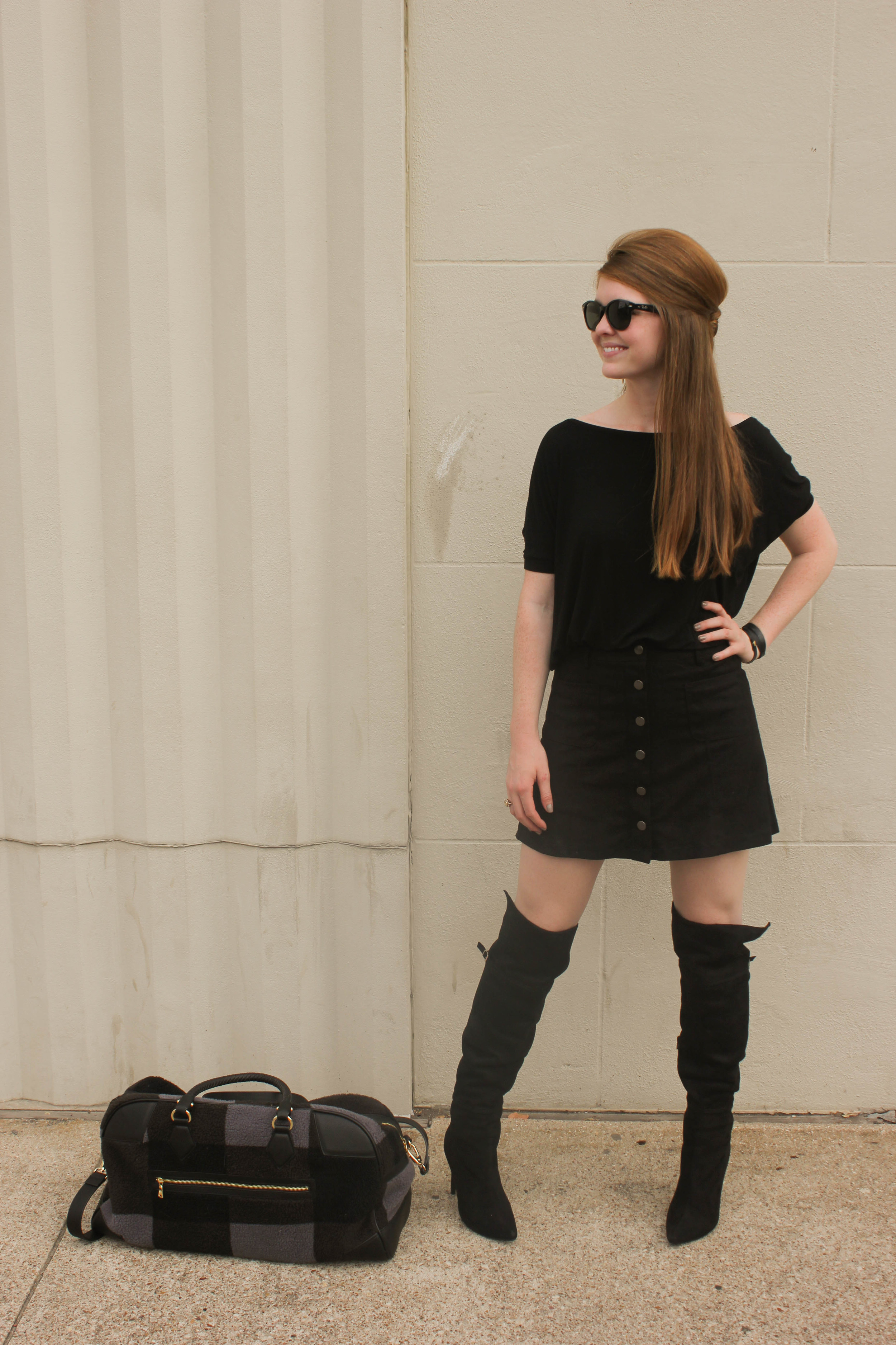 Chinese Laundry Suede Over the knee boots, button mini skirt, adam lippes for target weekender bagv