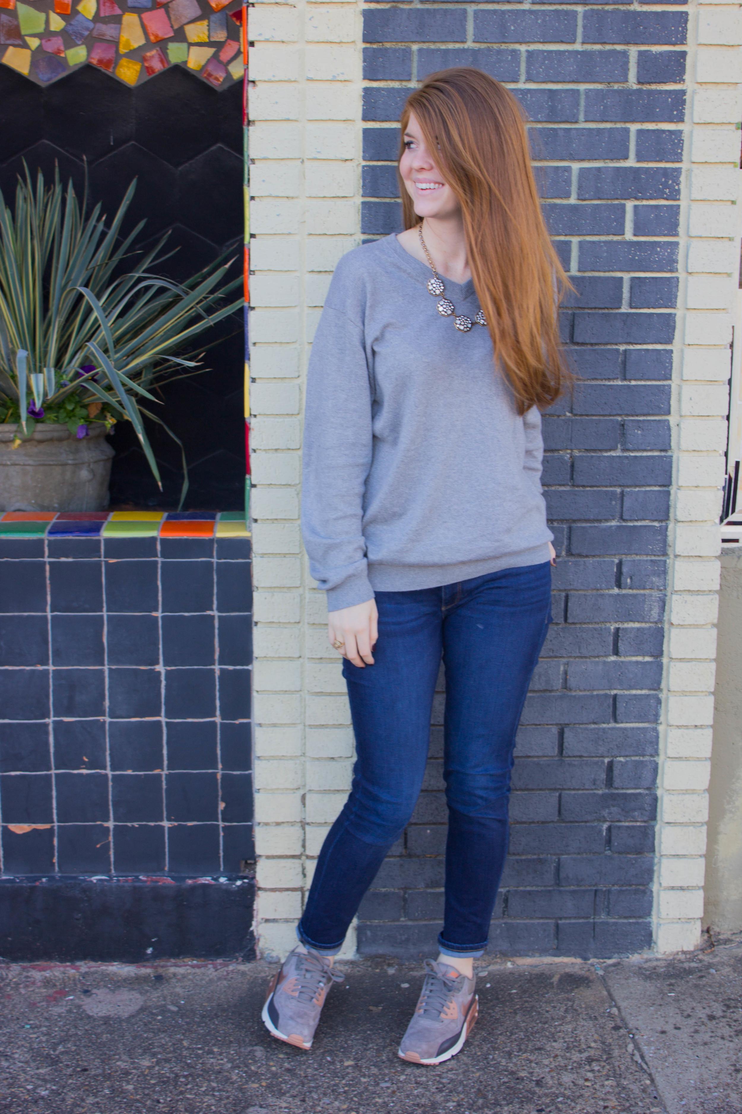 nike air max thea, dl 1961 emma jean legging, grey cashmere sweater