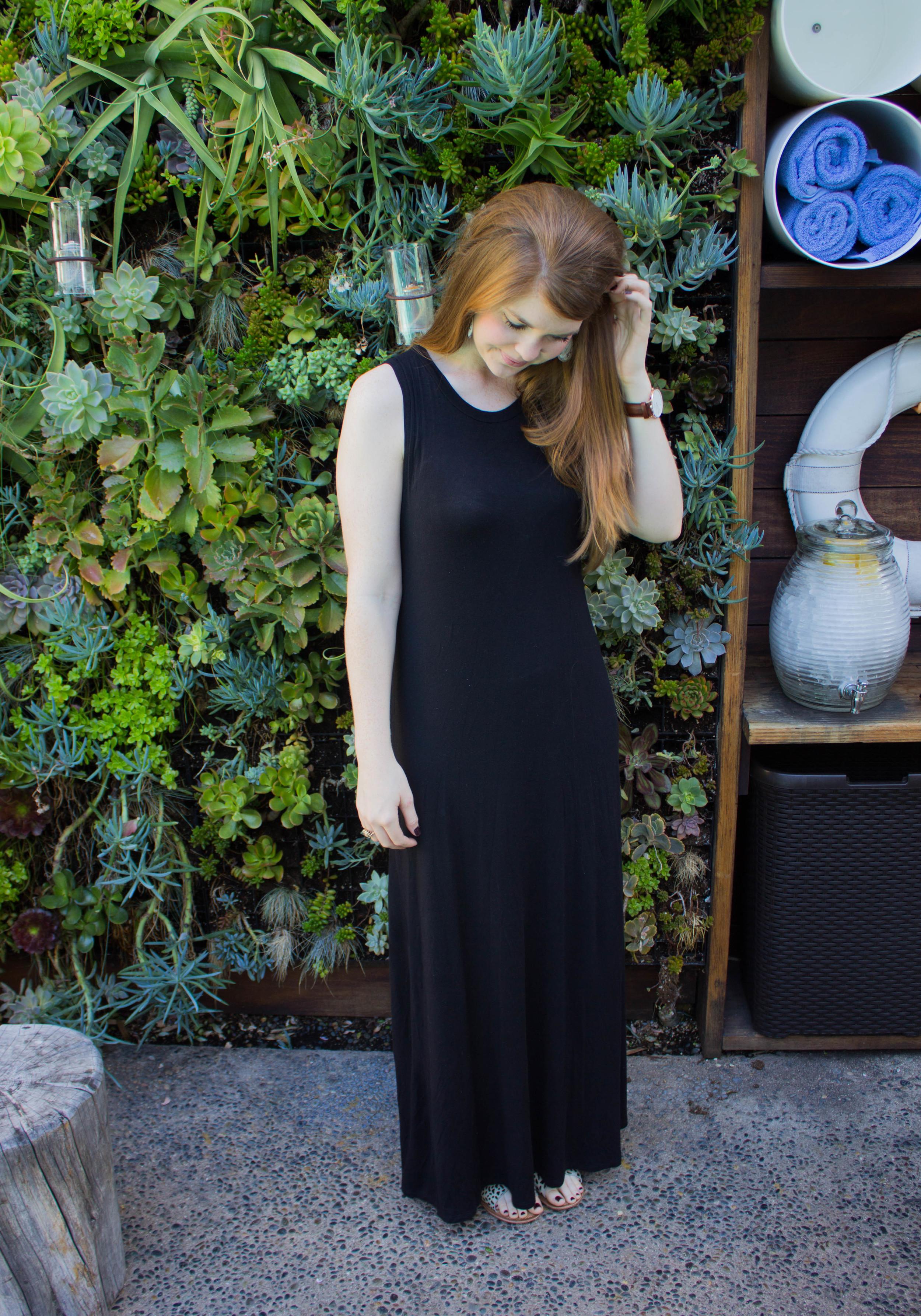 black maxi dress, bc cheetah sandals, Daniel Wellington watch, The Pearl Hotel, San Diego