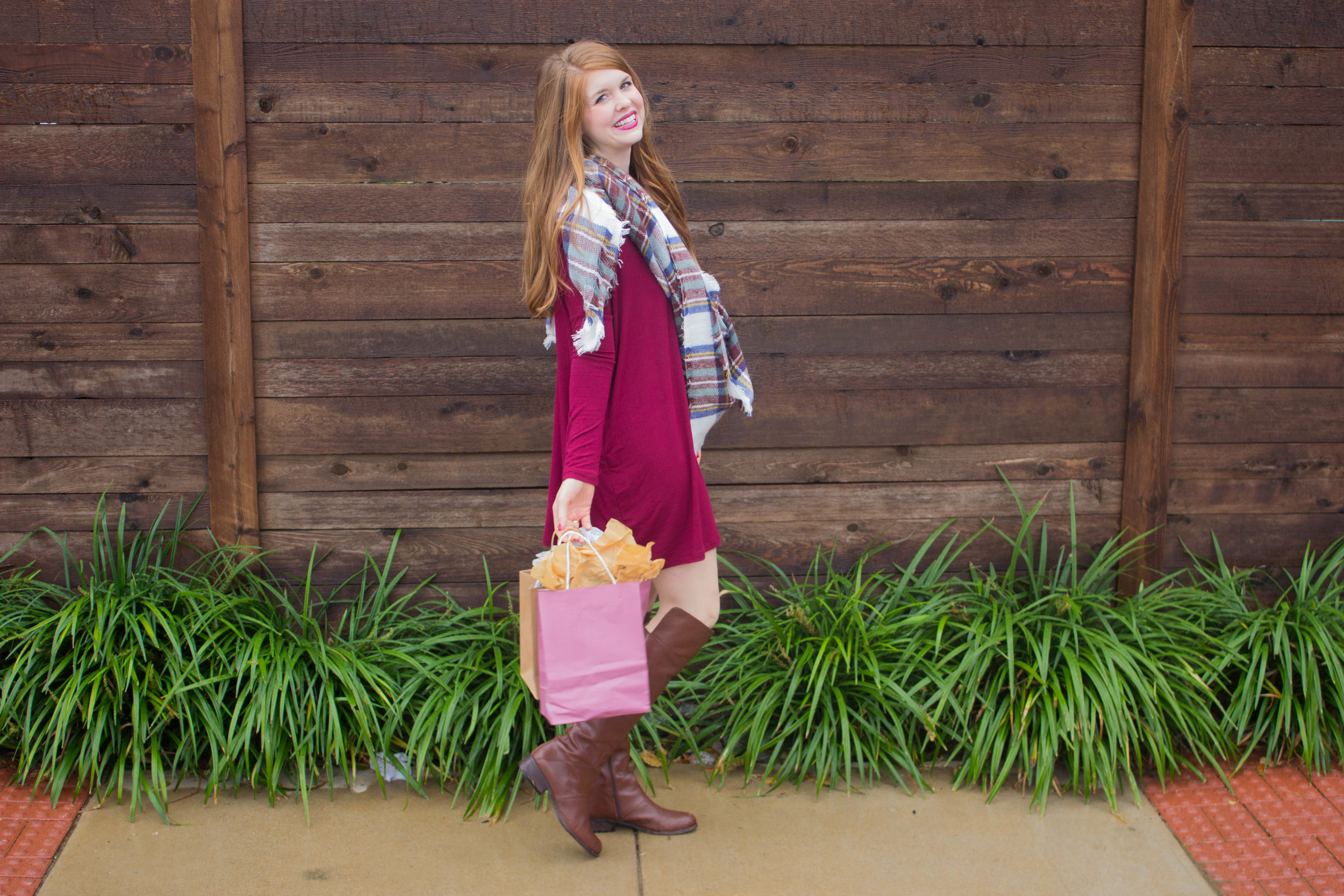 burgundy piko tuni, vince camuto over the knee boots, plaid blanket scarf, black friday sales, cyber monday sales
