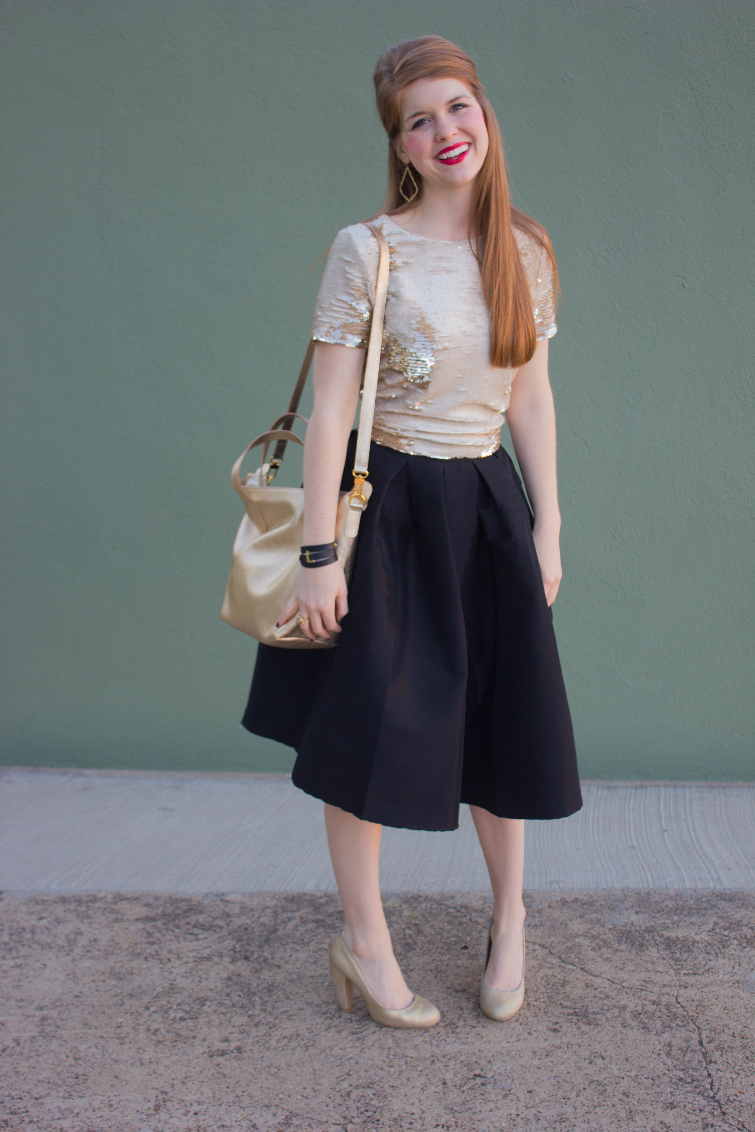black pleated mid skirt, gold sequin crop, cuyana carryall