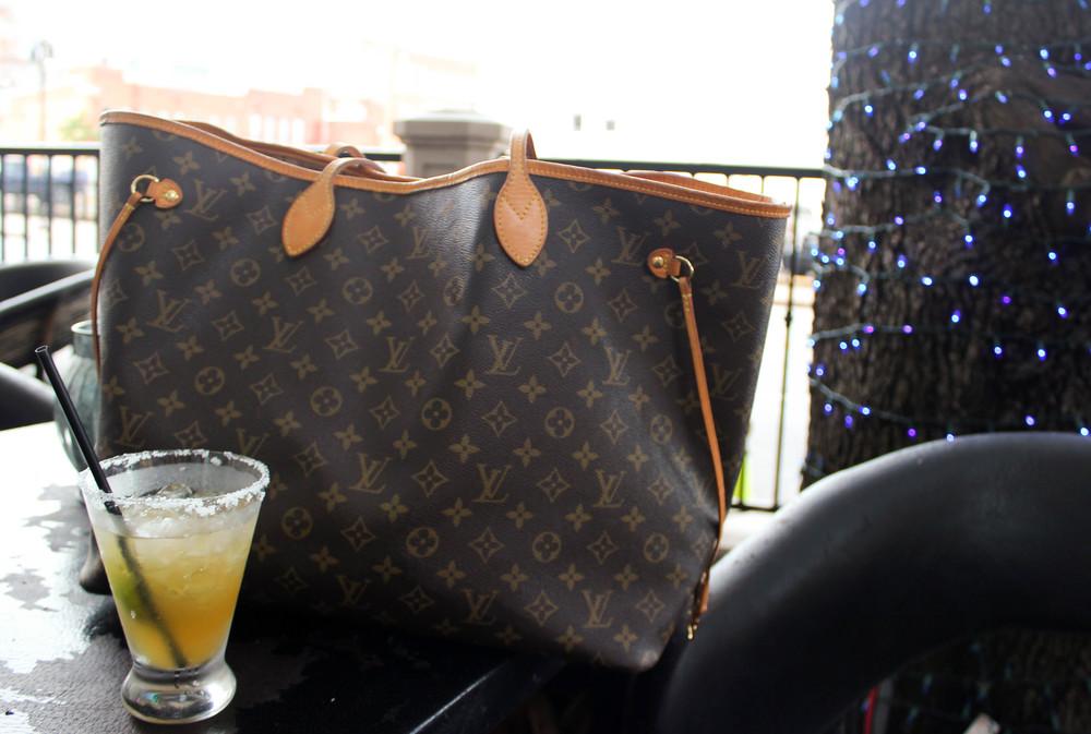 Chambray Dress, Haku Bootie, Louis Vuitton Neverfull