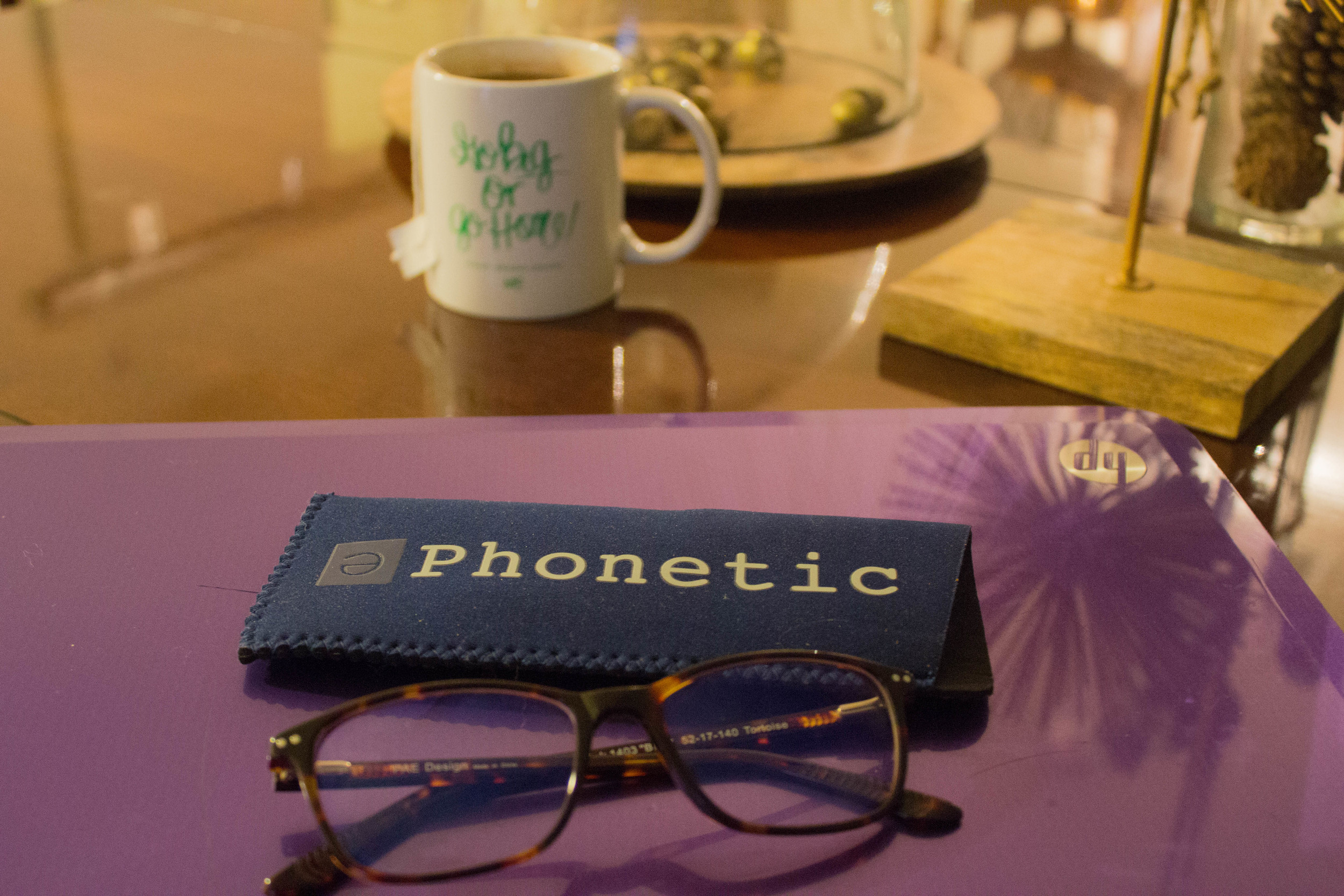 phonetics eyewear, j crew tuxedo top, kendra scott earrings, ashley brooke designs mug